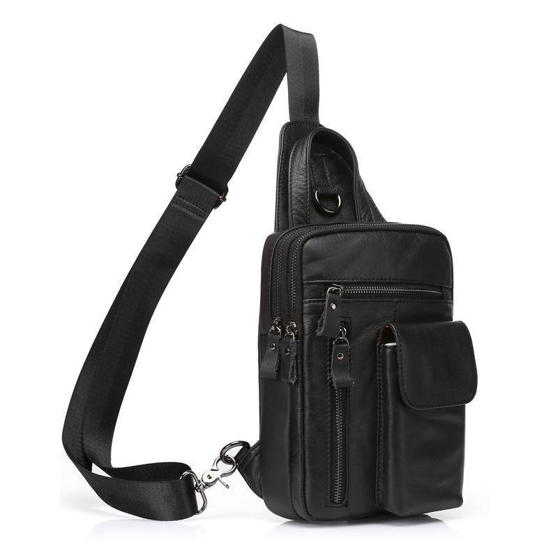 Черный мини-рюкзак кожаный на одно плечо