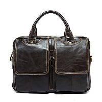 Статусная черная мужская сумка кожаная