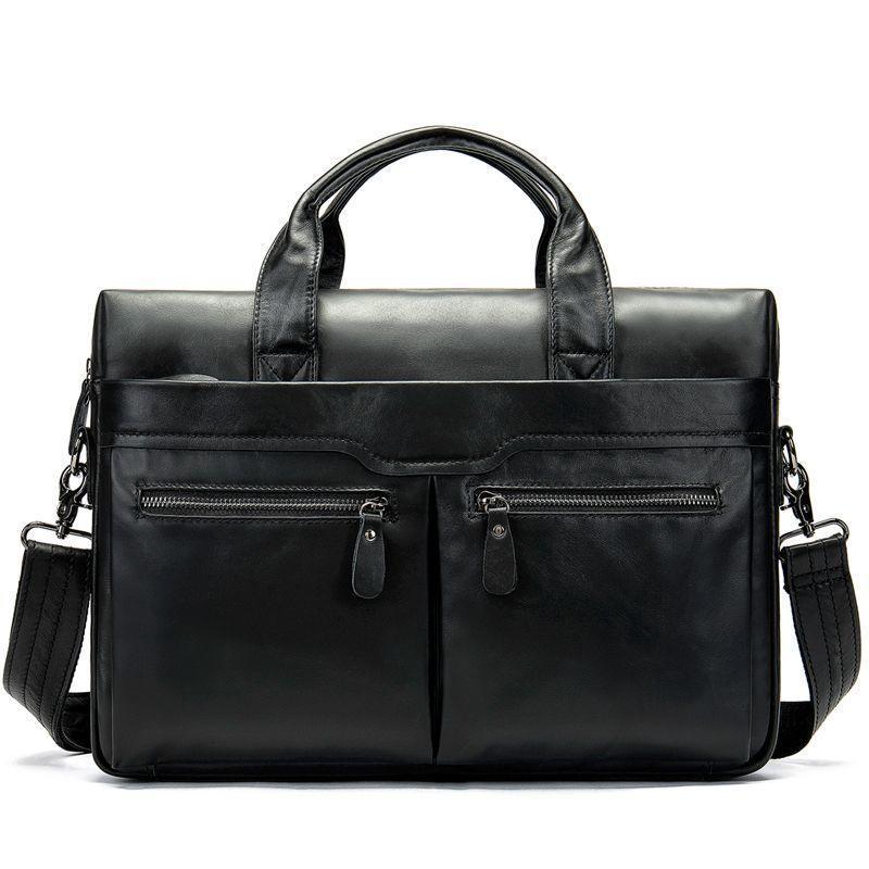 Кожаная сумка (мессенджер, порфтель) черная