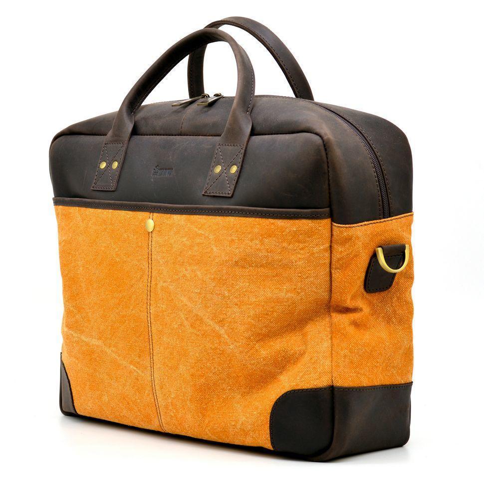 Вместительная сумка из парусины+кожи Crazy Horse