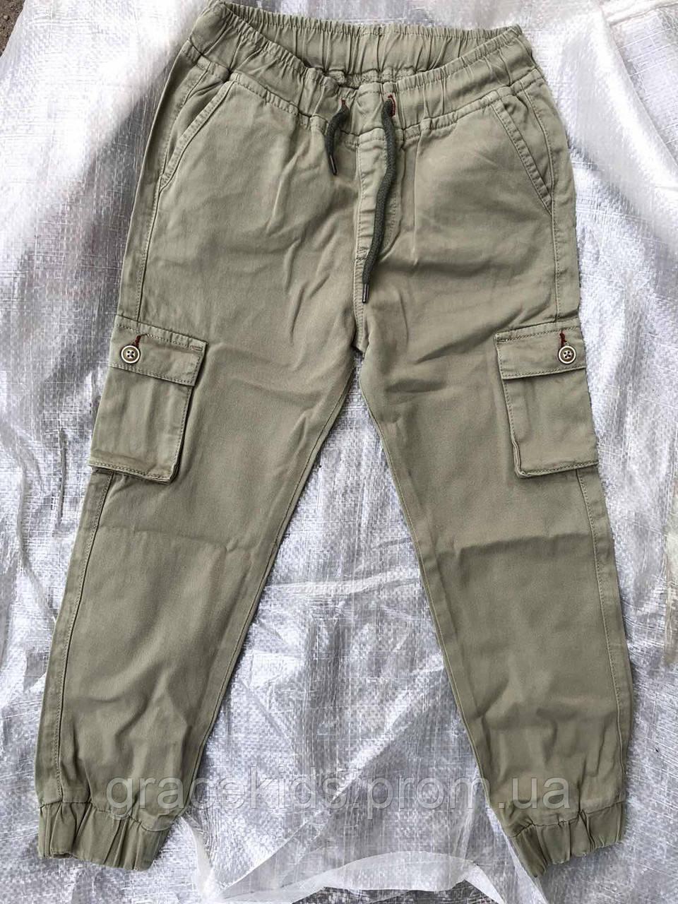Детские котоновые брюки джоггеры для мальчиков с карманами,разм 3-8 лет