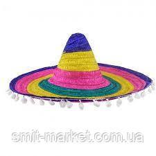 Шляпа Сомбреро цветная 55см, фото 2