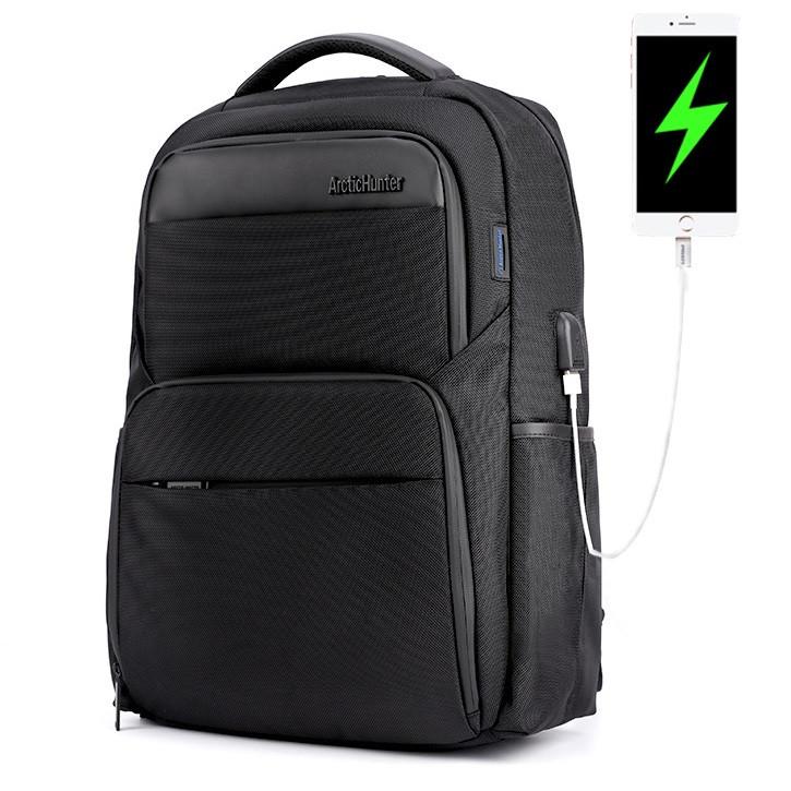 """Классический дорожный рюкзак Arctic Hunter B00113С для ноутбука до 15,6"""", влагозащищённый, с USB портом, 28л"""