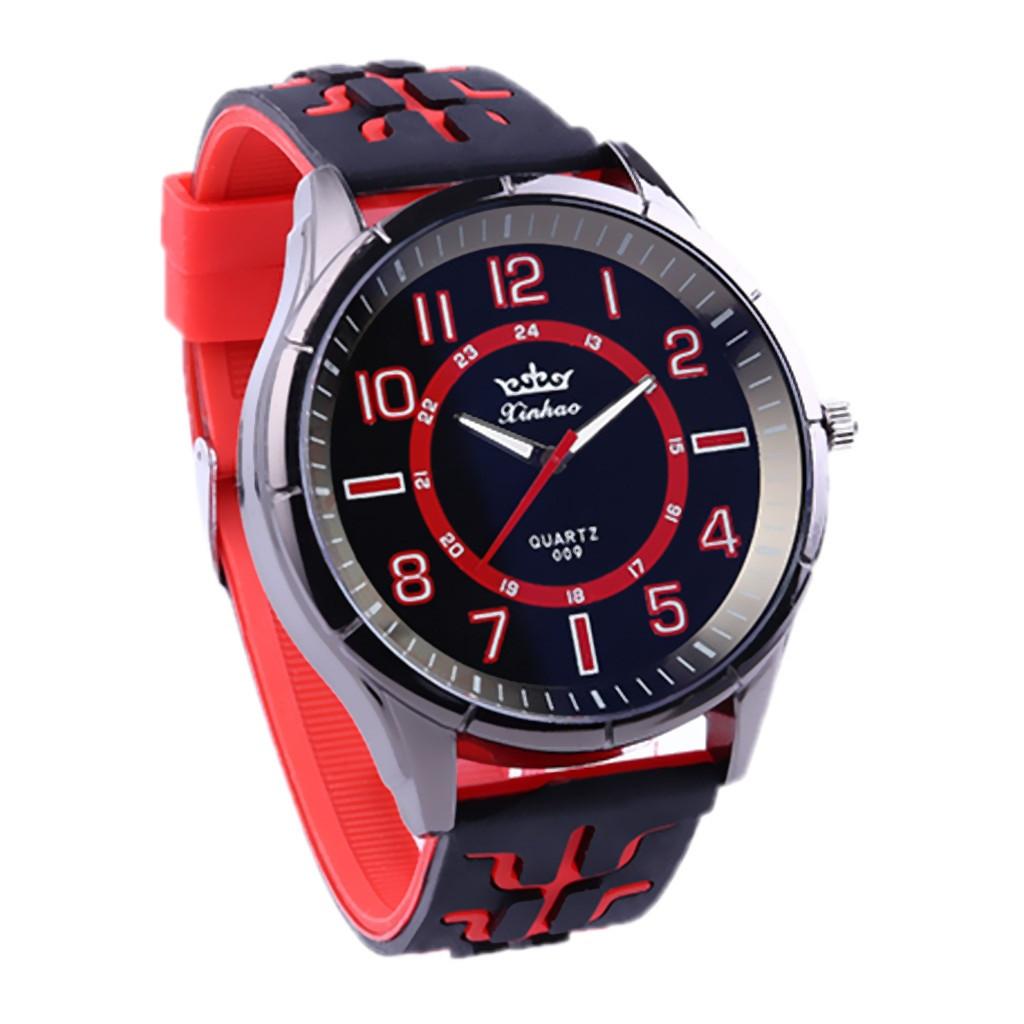 """Мужские наручные часы на силиконовом ремешке с большим циферблатом """"Xinhao"""" (красный)"""