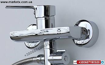 Латунный смеситель для ванны с длинным изливом гусаком носиком, фото 3