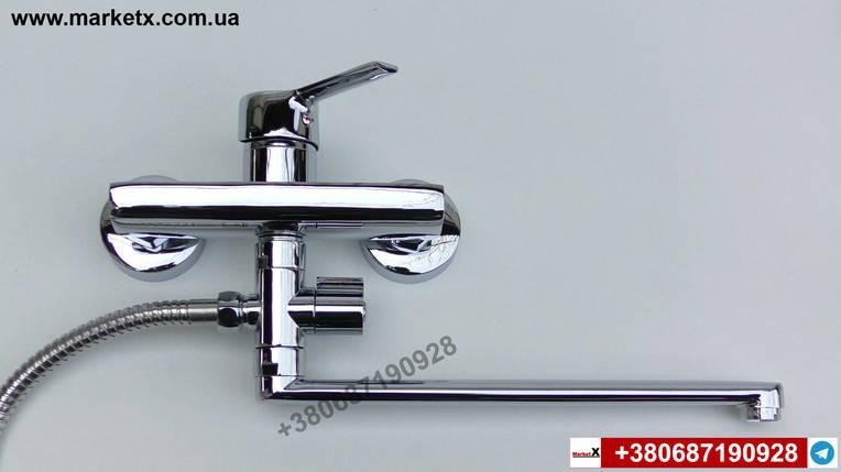 Латунный смеситель для ванны с длинным изливом гусаком носиком, фото 2