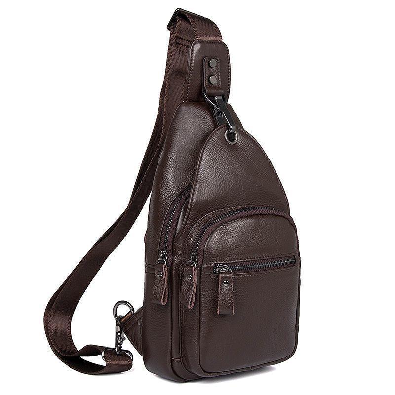 Большой кожаный рюкзак мужской на одну шлейку