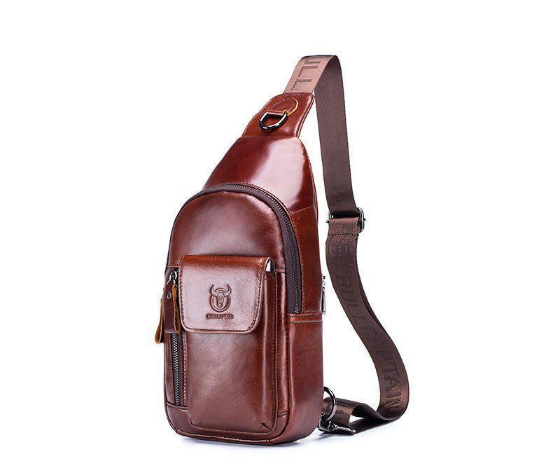 Коричневый мини-рюкзак кожаный на одно плечо
