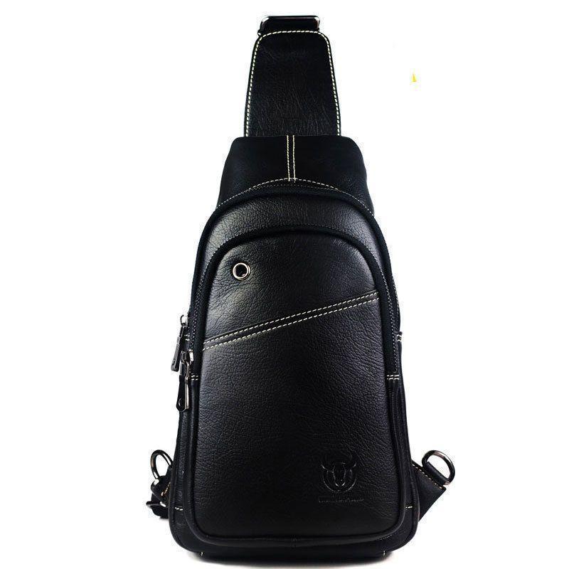 Для парня городской кожаный рюкзак с одной шлейкой