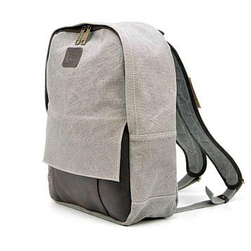 Молодежный рюкзак канвас с кожаными вставками