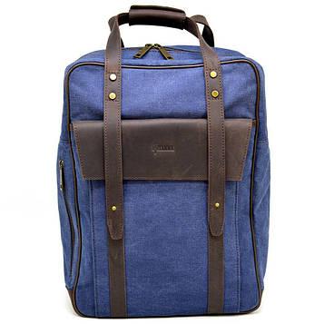 Джинсовый большой рюкзак в комбинации с натуральной кожей