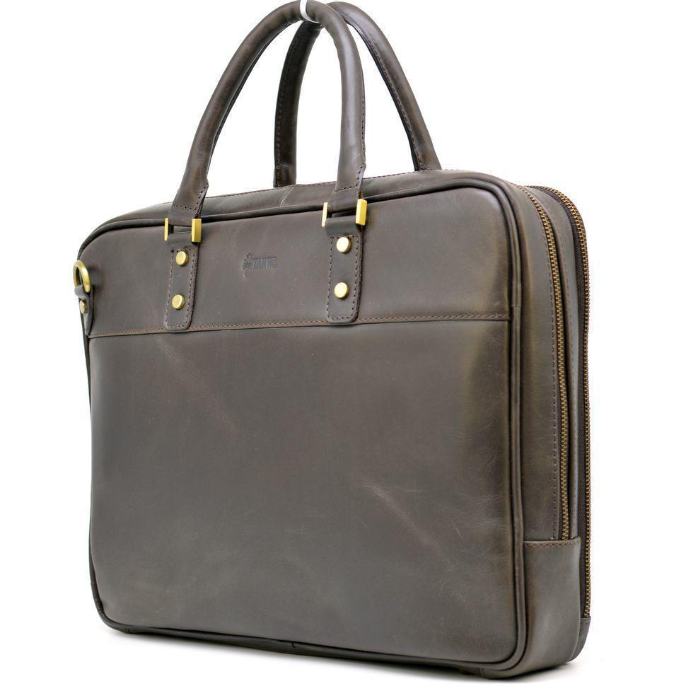 Коричневая мужская кожаная сумка-портфель тонкая