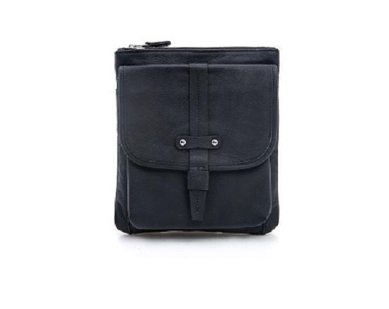Черная статусная мужская кожаная сумка на плечо