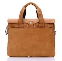 Стильная мужская кожаная сумка-портфель в песочном цвете