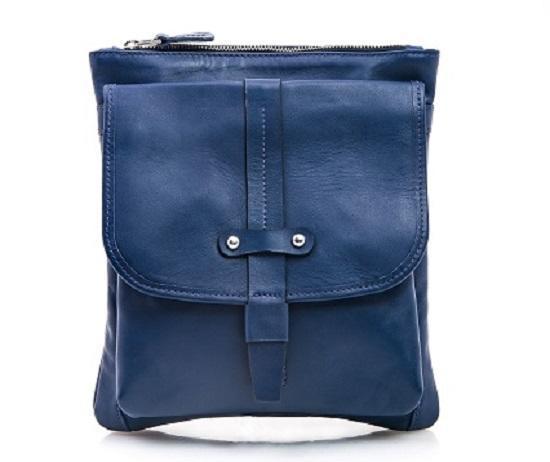 Синяя кожаная сумка мужская на плечо