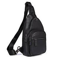 Компактный мужской кожаный рюкзак на одну шлейку