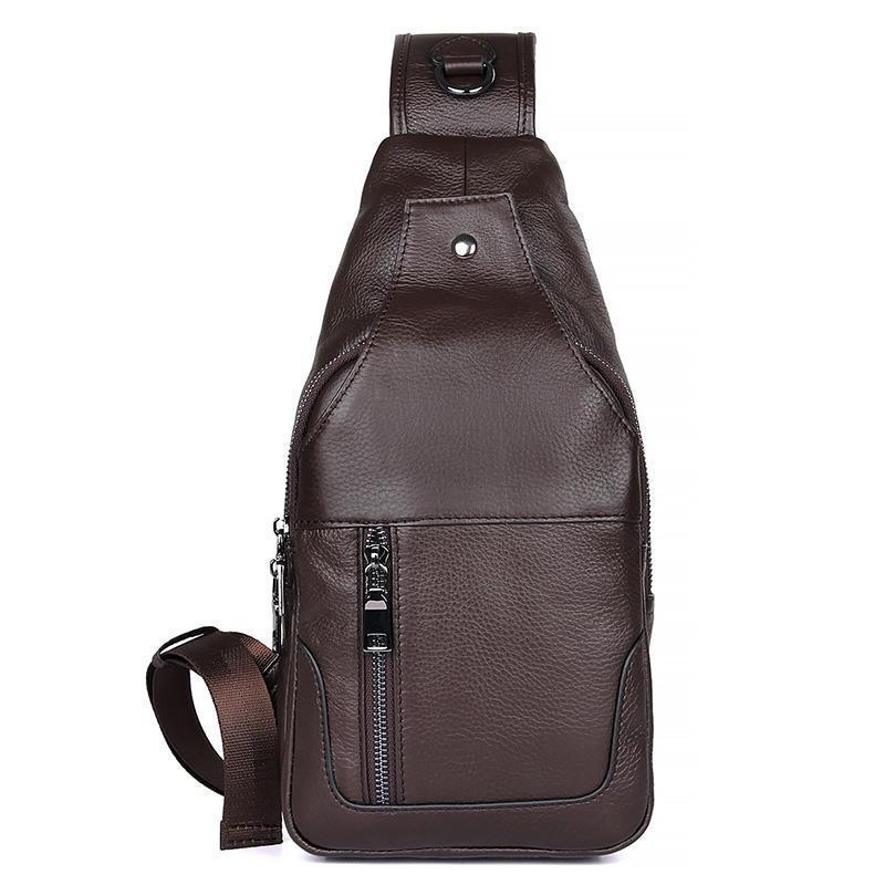 Мужской кожаный слинг рюкзак на одно плечо