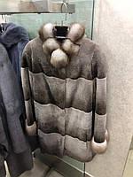 Полушубок из канадского  бобра с куницей, размер 46/48
