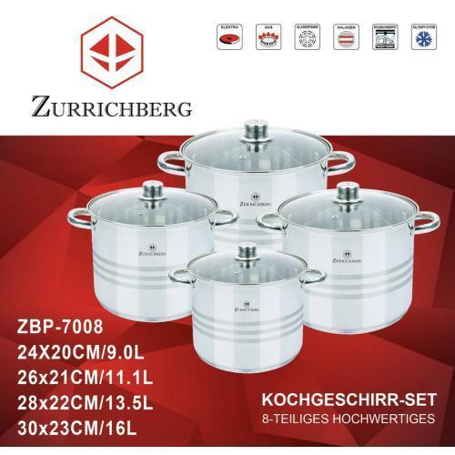 Набор кастрюль из нержавеющей стали 8 предметов Zurrichberg ZBP-7008 для всех типов плит