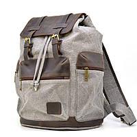 Серый рюкзак мужской из парусины и кожи