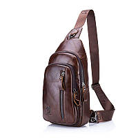 "Мини-рюкзак кожаный ""слинг"" на одно плечо"