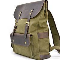 Городской рюкзак мужской парусина и кожа