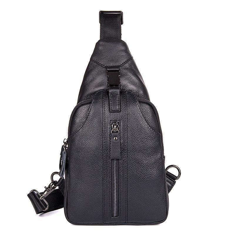 Молодежный мини-рюкзак на моношлейке из натуральной кожи