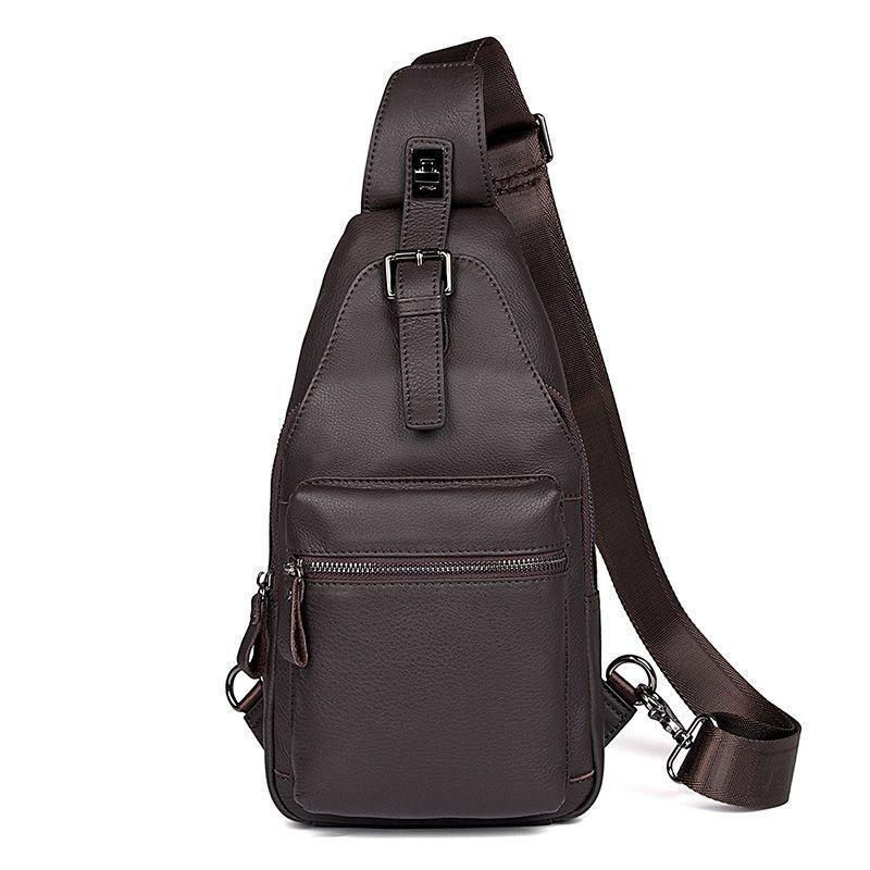 Оригинальный кожаный рюкзак на одно плечо мужской
