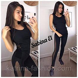 Женский черный костюм для фитнеса со вставками сетки: майка  и лосины