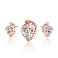 Набор сердечки: серьги - гвоздики + кулон ХР Gold filled 18k. Розовое золото.