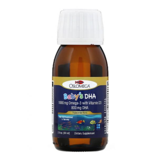 Oslomega Рыбий жир с омега-3 и витамином D3 Норвежская серия детский Norwegian Baby's DHA with Vitamin D3 800