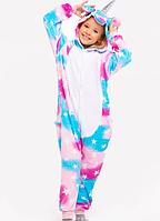 Детская пижама Кигуруми Единорог в звездочку разноцветный (единорог со звездами, звездный единорог) 130 (на