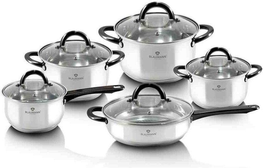 Уникальный стальной набор посуды Blaumann Gourmet Line 10 предметов BL-3421