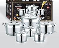 Набор кухонной посуды 12 предметов Bohmann BH 600-12 нержавеющая сталь