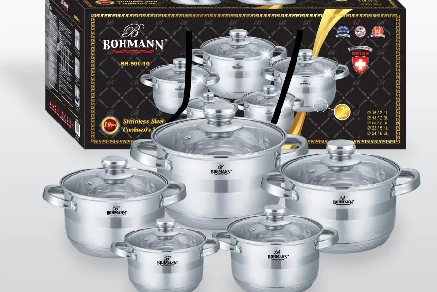 Набор посуды из нержавеющей стали 10 предметов Bohmann BH 500-10