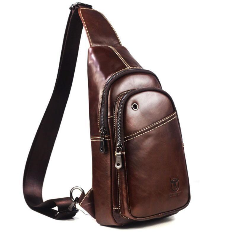 Городской кожаный рюкзак с одной шлейкой