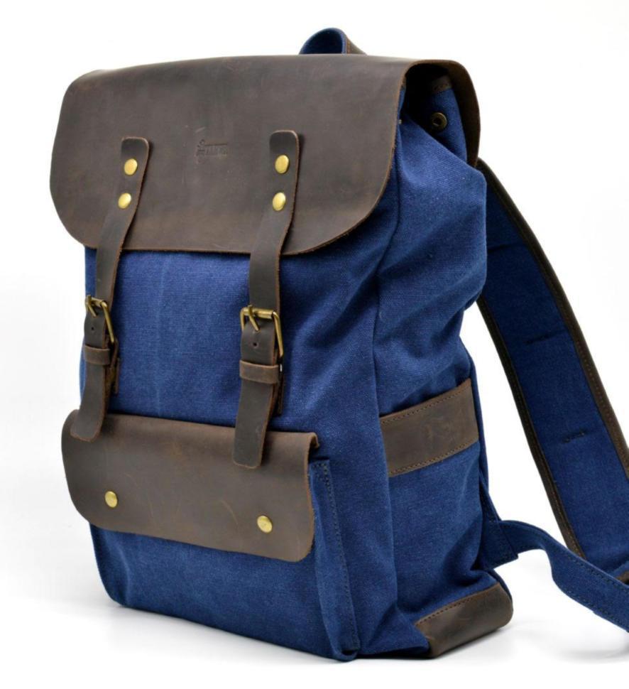Удобный рюкзак мужской парусина кожа
