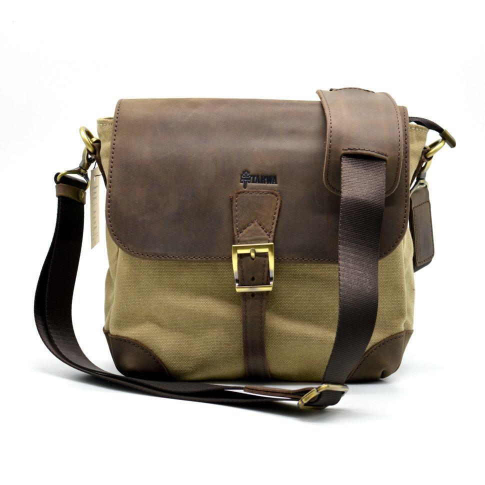Компактная сумка-месседжер мужская парусина и кожа