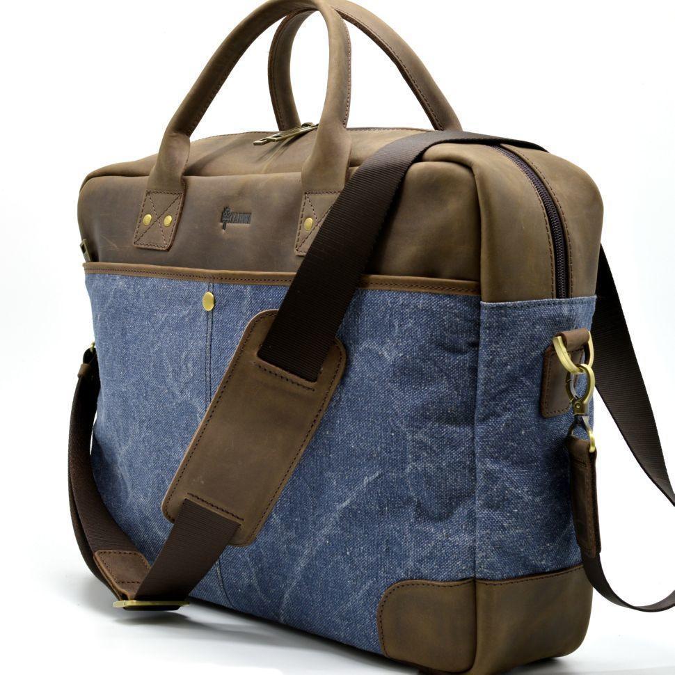 Мужская удобная сумка парусина+кожа