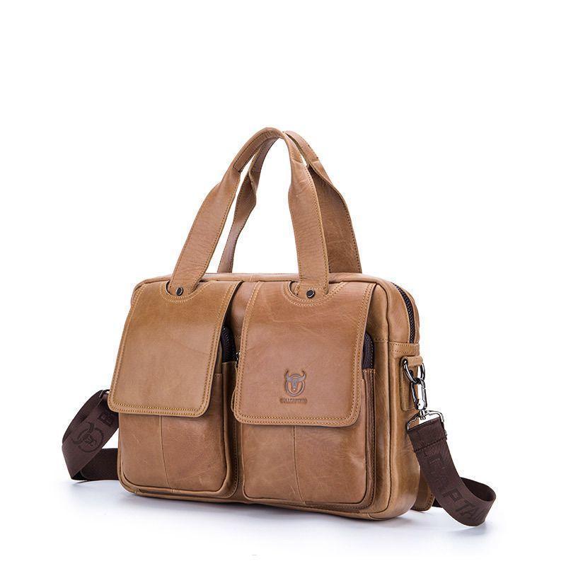 Рыжая стильная и удобная мужская сумка