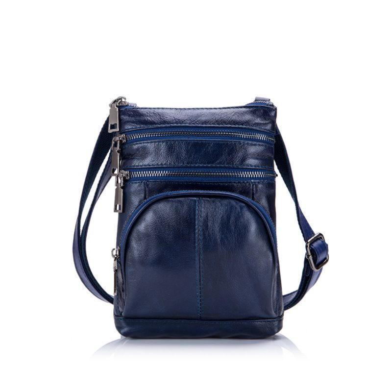 Синяя мужская сумка через плечо из натуральной кожи