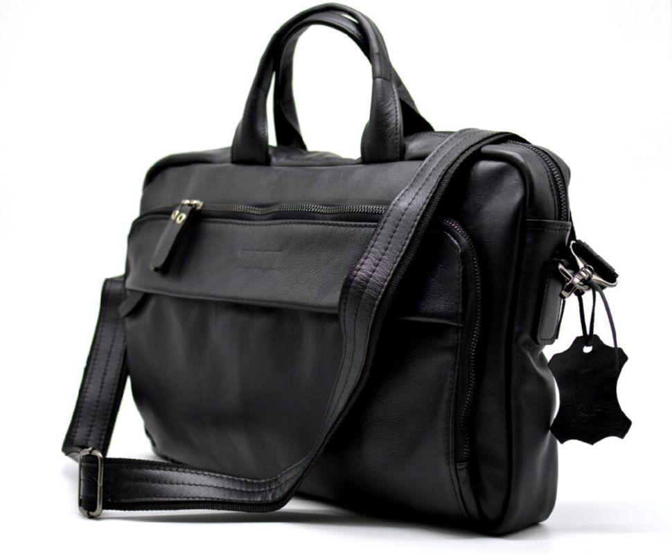 Деловая сумка-портфель для ноутбука из натуральной кожи