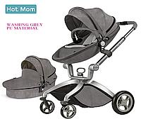 Оригинальная детская коляска Hot Mom 2в1 Dark Grey Тёмно-серый эко-кожа Прогулка и люлька