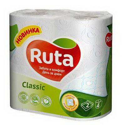 """Папір туалетний """"Ruta""""Classic білий 2ш.4рул."""