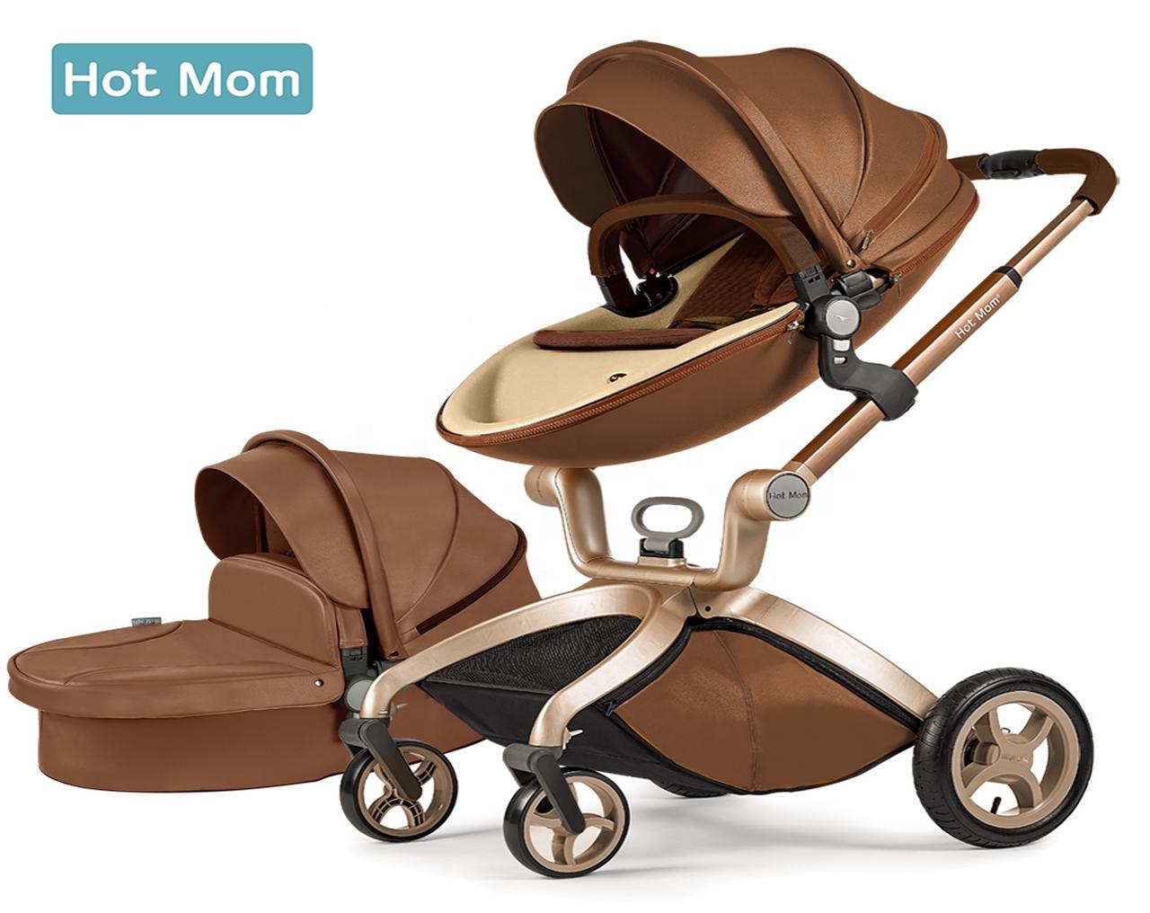 Оригинальная детская коляска Hot Mom 2в1 Dark Brown Тёмно-коричневый эко-кожа Прогулка и люлька