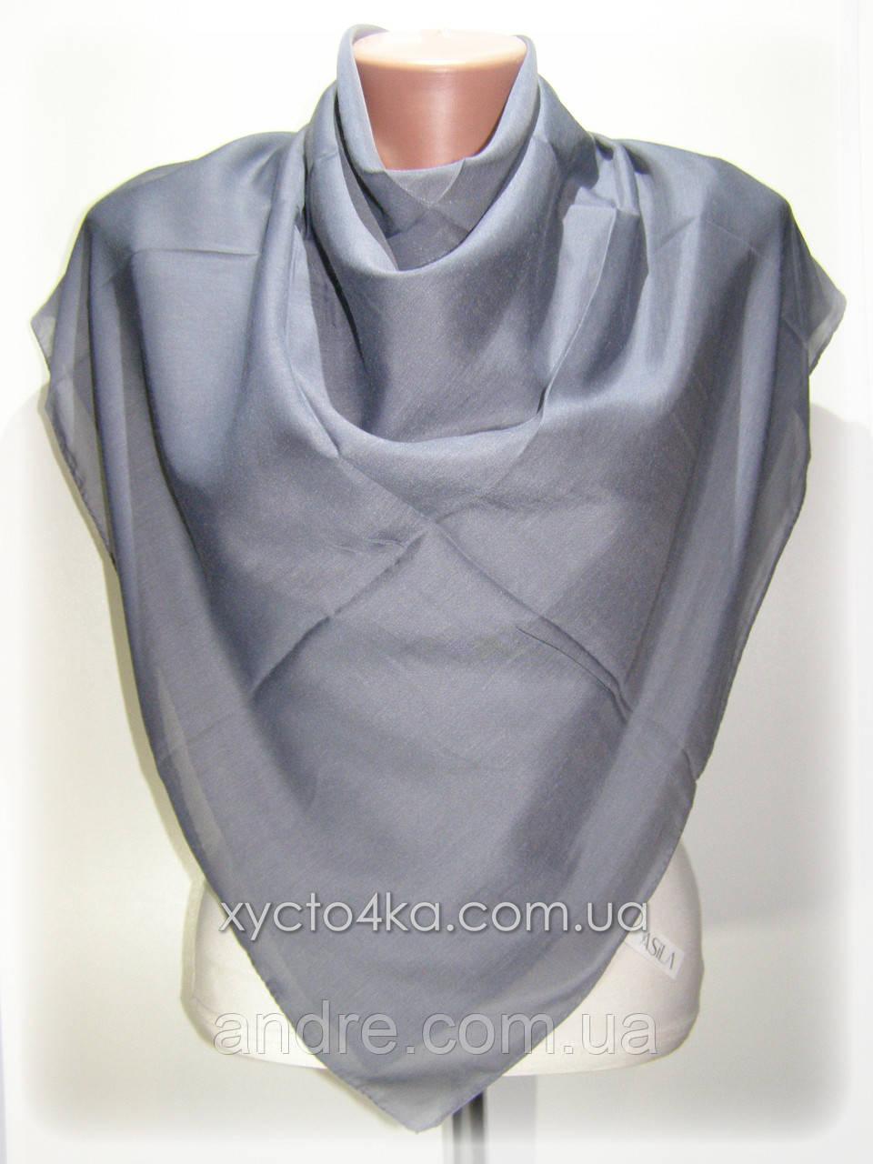 Лёгкие однотонные платки платки Изабелла, графитовый
