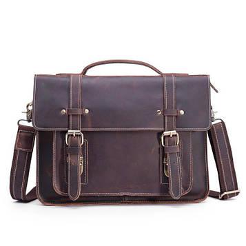 Коричневый брутальный кожаный портфель для мужчин