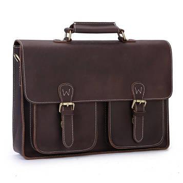 Стильный коричневый кожаный портфель для парня