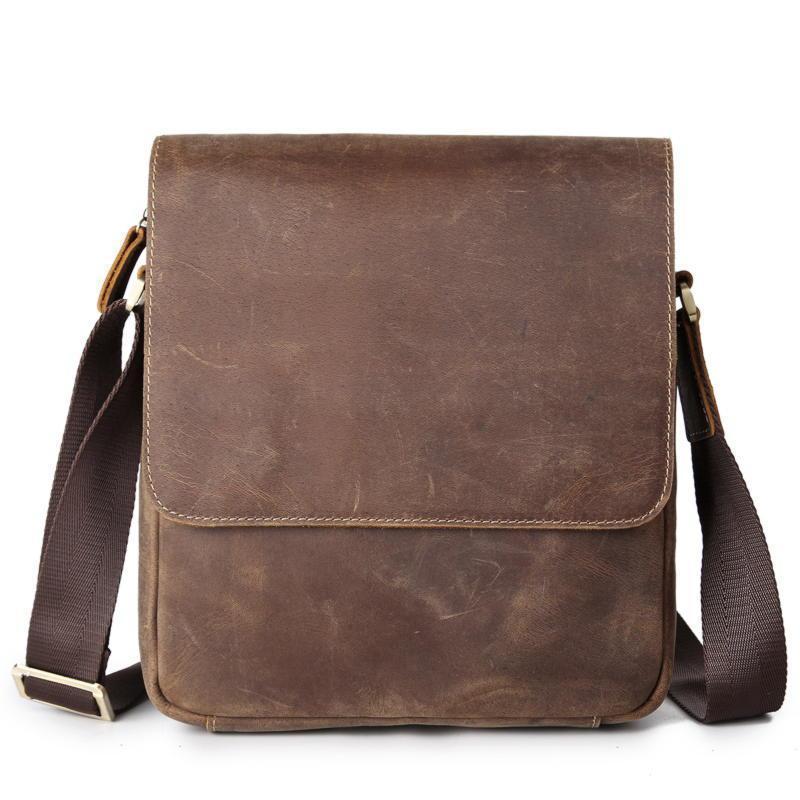 Коричневого цвета оригинальная мужская сумка через плечо