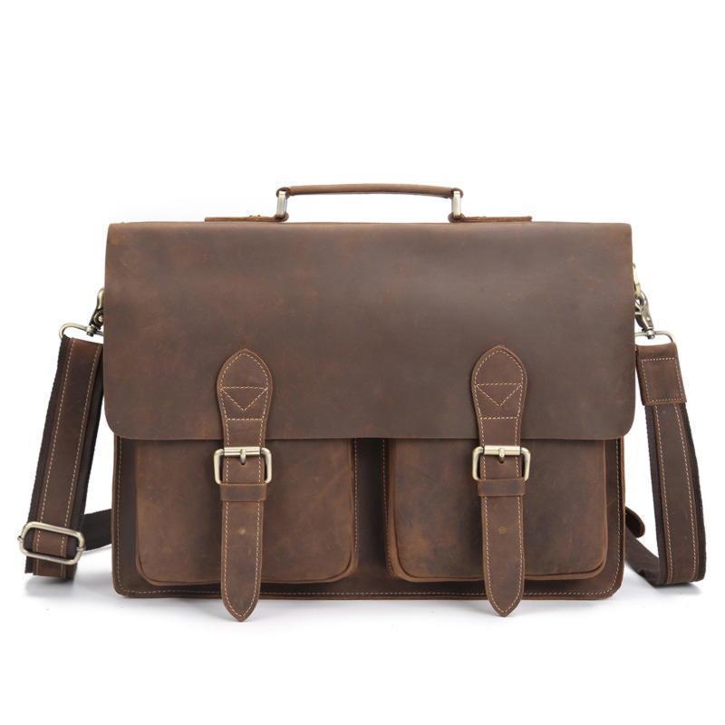 Коричневый кожаный портфель для мужчин